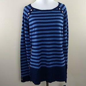 Women's Karen Scott Blue Striped Sweater Sz L